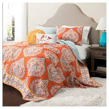 Duvet Covers And Quilts Harley Quilt Tangerine 5 Piece Set Lush Decor Target