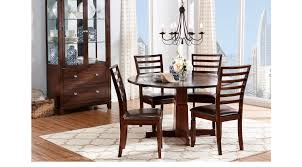 riverdale cherry 5 pc round dining room ladder back chairs