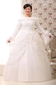 sleeve wedding dresses for plus size gown floor length sleeves lace up fur feathers tiered