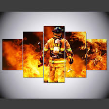 5 panels canvas prints firefighter our hero canvas painting poster