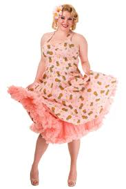 audrey flamingo plus size pin up clothing pink dress