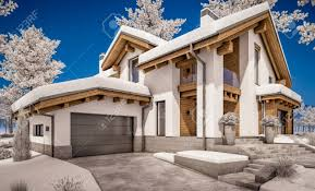 chalet style house 3d rendering of modern cozy house in chalet style with garage