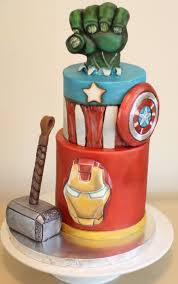 avengers cake hand painted top tier modeling chocolate hand