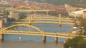 Pennsylvania travel videos images Barges travel under the bridges of pittsburgh pa stock footage jpg