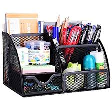 Office Desk Supply Rolodex Mesh Pencil Cup Organizer Four Compartments