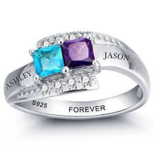 birthstone rings personalized simulated birthstone rings for