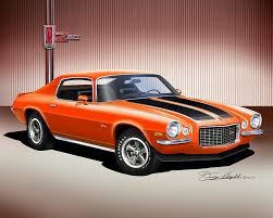 burnt orange camaro 1970 1978 chevorlet camaro print poster by danny whitfield