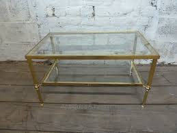 glass coffee table with glass shelf antiques atlas vintage brass coffee table with glass shelves