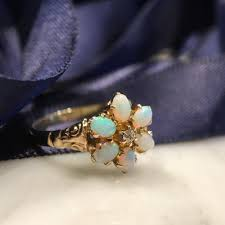 turquoise opal engagement rings antique right hand ring victorian opal diamond 14kt gold