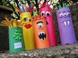 cardboard craft colorful ghoul family