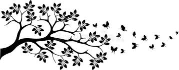black tree silhouette with butterfly flying royalty free stock
