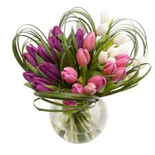 Flowers Delivered With Vase Tulip Medley Mothers Day Flowers Spring Flowers Delivered