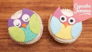how to make super cute owl cupcakes cupcake jemma youtube