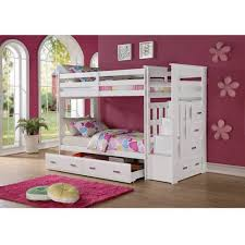 ACME Furniture Allentown Twin Over Twin Wood Bunk Bed White - Wooden bunk beds with drawers