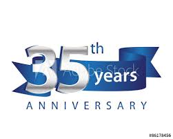 35 year anniversary 35 years anniversary logo blue ribbon buy this stock vector and