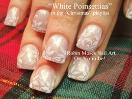 elegant and easy christmas nails white poinsettias nail art