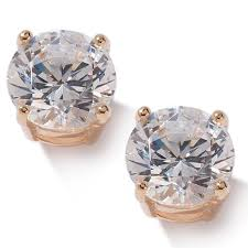 gold plated earrings absolute 2ctw cubic zirconia 4 prong gold plated sterling