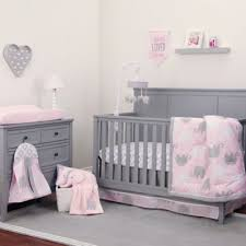 gray and pink crib bedding set 2399