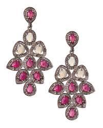 Pink Chandelier Earrings Lyst Bavna Opal Ruby Chandelier Earrings In Pink