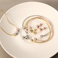 earring chain necklace images Jassy women jewelry set 3 color simple gemstone 18k gold plated jpeg