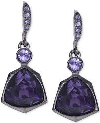 purple drop earrings givenchy light hematite tone purple small drop earrings