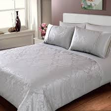 Silver Duvet Cover Jacquard Damask Duvet Set Double Bedding Duvet Sets