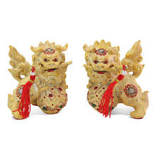 gold foo dogs feng shui pair of 3 gold fu foo dogs guardian lion statue