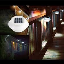 10pcs solar lamp powered outdoor porch yard wall led light gutter