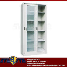 Tall Metal Storage Cabinet Inspiring Metal Storage Cabinet With Glass Doors 52 For Your Home