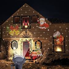 christmas window projection dvd laser projector light santa claus garden lawn house landscape
