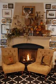 fireplace mantle autumn decoration inspiration with white wooden