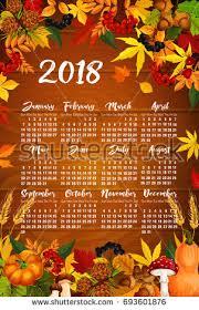 autumn 2018 calendar template poster maple stock vector 693601876