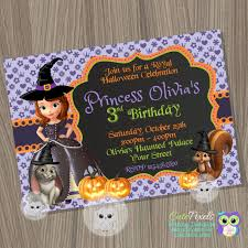 Halloween First Birthday Invitations Sofia The First Halloween Invitation Princess Sofia Halloween