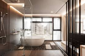 modern bathroom designs with stone flooring material and standing