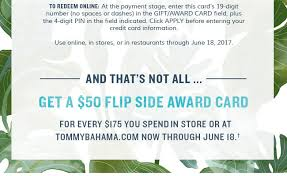 tommy bahama your award card is waiting for you milled