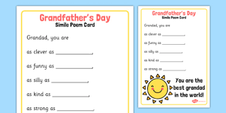 grandfather s grandfather s day simile poem card grandfathers day simile