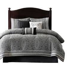 Black And White Damask Duvet Cover Queen Queen Size 7 Piece Comforter Set In Black White Grey Damask
