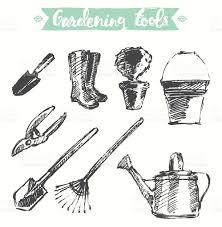 drawn gardening tools vector illustration sketch stock vector art