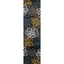 Modern Floral Area Rugs Yellow Grey Polypropylene Contemporary Modern Floral Flowers Area
