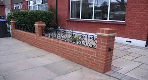 prissy ideas front garden wall designs red brick yellow stone caps
