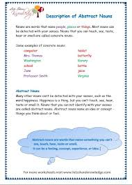 grade 3 grammar topic 1 abstract nouns worksheets lets share