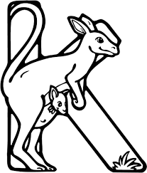 colouring page of a letter k with kangaroo coloring point