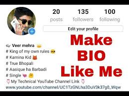 biography for instagram profile how to create instagram a bio like me youtube