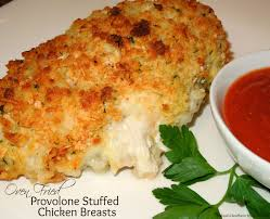 oven fried provolone stuffed chicken