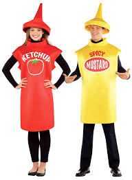 mustard ketchup bottle couple fancy dress food ladies mens