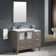 42 Bathroom Vanity by Fresca Torino Single 42 Inch Modern Bathroom Vanity Gray Oak