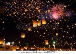 sky lanterns fireworks flying lanterns floating stock photo
