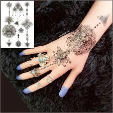 bh 10 1 piece lotus flower black henna tattoos temporary inspired