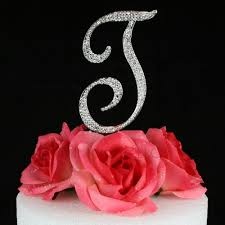 b cake topper letter t cake topper monogram 5 inch silver rhinestone