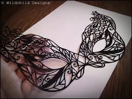 beautiful gothic masquerade mask paper cutting template for zoom